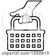 Clipart Of A Black And White Hand Carrying A Shopping Basket Icon Royalty Free Vector Illustration