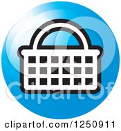 Clipart Of A Round Blue Shopping Basket Icon Royalty Free Vector Illustration