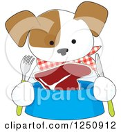 Clipart Of A Hungry Puppy With Steak In His Bowl Royalty Free Vector Illustration