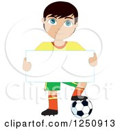 Soccer Player Boy Holding A Sign And Resting A Foot On A Ball
