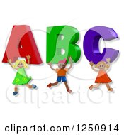 Clipart Of 3d Happy Children Carrying ABC Royalty Free Illustration