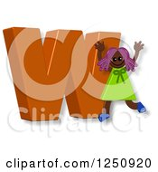 Clipart Of A 3d Capital Letter W And Happy Running Girl Royalty Free Illustration