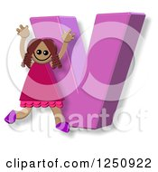 Clipart Of A 3d Capital Letter V And Happy Running Girl Royalty Free Illustration