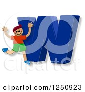 Clipart Of A 3d Capital Letter W And Happy Running Boy Royalty Free Illustration