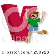 Clipart Of A 3d Capital Letter V And Happy Running Boy Royalty Free Illustration