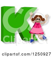 Clipart Of A 3d Capital Letter K And Happy Running Girl Royalty Free Illustration