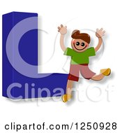 Clipart Of A 3d Capital Letter L And Happy Running Boy Royalty Free Illustration