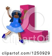 Clipart Of A 3d Capital Letter L And Happy Running Girl Royalty Free Illustration
