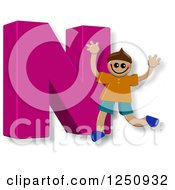 Clipart Of A 3d Capital Letter N And Happy Running Boy Royalty Free Illustration