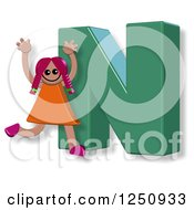 Clipart Of A 3d Capital Letter N And Happy Running Girl Royalty Free Illustration