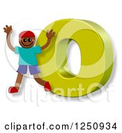 Clipart Of A 3d Capital Letter O And Happy Running Boy Royalty Free Illustration