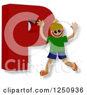 Clipart Of A 3d Capital Letter P And Happy Running Boy Royalty Free Illustration by Prawny