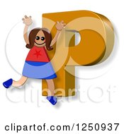Clipart Of A 3d Capital Letter P And Happy Running Girl Royalty Free Illustration by Prawny