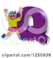 Clipart Of A 3d Capital Letter Q And Happy Running Boy Royalty Free Illustration