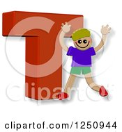 Clipart Of A 3d Capital Letter T And Happy Running Boy Royalty Free Illustration