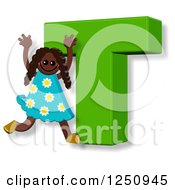 Clipart Of A 3d Capital Letter T And Happy Running Girl Royalty Free Illustration