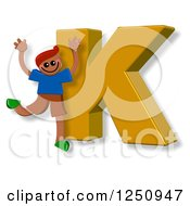 Clipart Of A 3d Capital Letter K And Happy Running Boy Royalty Free Illustration by Prawny