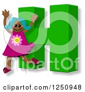 Clipart Of A 3d Capital Letter H And Happy Running Girl Royalty Free Illustration