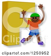 Clipart Of A 3d Capital Letter F And Happy Running Boy Royalty Free Illustration
