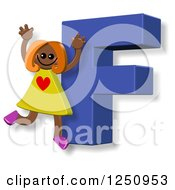 Clipart Of A 3d Capital Letter F And Happy Running Girl Royalty Free Illustration