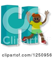Clipart Of A 3d Capital Letter H And Happy Running Boy Royalty Free Illustration