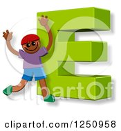 Clipart Of A 3d Capital Letter E And Happy Running Boy Royalty Free Illustration