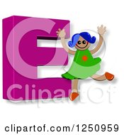 Clipart Of A 3d Capital Letter E And Happy Running Girl Royalty Free Illustration