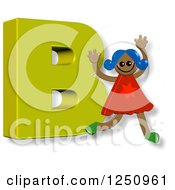 Clipart Of A 3d Capital Letter B And Happy Running Girl Royalty Free Illustration by Prawny