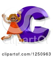 Clipart Of A 3d Capital Letter C And Happy Running Girl Royalty Free Illustration