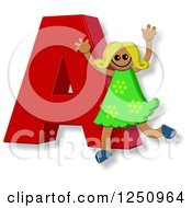 Clipart Of A 3d Capital Letter A And Happy Running Girl Royalty Free Illustration by Prawny