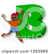 Clipart Of A 3d Capital Letter B And Happy Running Boy Royalty Free Illustration by Prawny