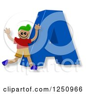 Clipart Of A 3d Capital Letter A And Happy Running Boy Royalty Free Illustration