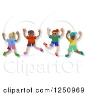 Clipart Of A Group Of Happy Diverse Boys Jumping Royalty Free Illustration