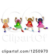 Clipart Of A Group Of Happy Diverse Girls Jumping Royalty Free Illustration