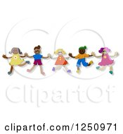 Clipart Of A Group Of Happy Diverse Kids Jumping Royalty Free Illustration