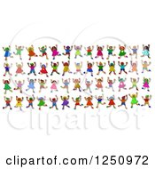 Clipart Of Rows Of 3d Diverse Children Jumping Royalty Free Illustration