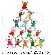 Clipart Of A Pyramid Or Tower Of 3d Diverse Children Royalty Free Illustration
