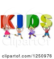 Clipart Of 3d Children And Holding Up KIDS Text Royalty Free Illustration