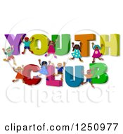 Clipart Of 3d Children And YOUTH CLUB Text Royalty Free Illustration