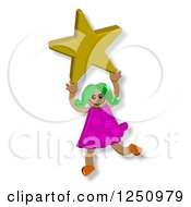 Clipart Of A Happy Girl Holding Up A Star Royalty Free Illustration by Prawny