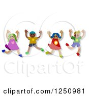 Clipart Of A Group Of Happy Diverse Children Jumping Royalty Free Illustration