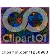 Clipart Of A Background Of Black Drawn Hearts Over Dark Gradient Royalty Free Illustration