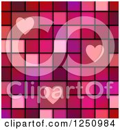 Clipart Of A Background Of Hearts On Pink And Red Tiles Royalty Free Illustration
