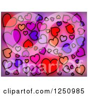 Clipart Of A Background Of Black Drawn Hearts Over Gradient Royalty Free Illustration
