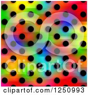Clipart Of A Background Of Black Polka Dots On Colors Royalty Free Illustration