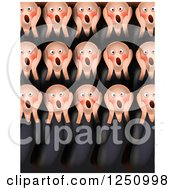 Clipart Of A Painted Parody Of The Screem Showing A Crowd Of Men Screaming Royalty Free Illustration by Prawny
