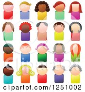 Clipart Of Faceless Male And Female Avatar Icon People Royalty Free Illustration