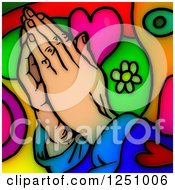 Stained Glass Design Of Praying Hands Over Colors