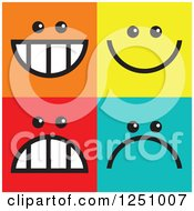 Clipart Of Happy And Sad Colorful Square Icons Royalty Free Illustration