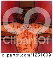 Clipart Of A Stained Glass Design Of Jesus Christ On The Cross Royalty Free Illustration by Prawny